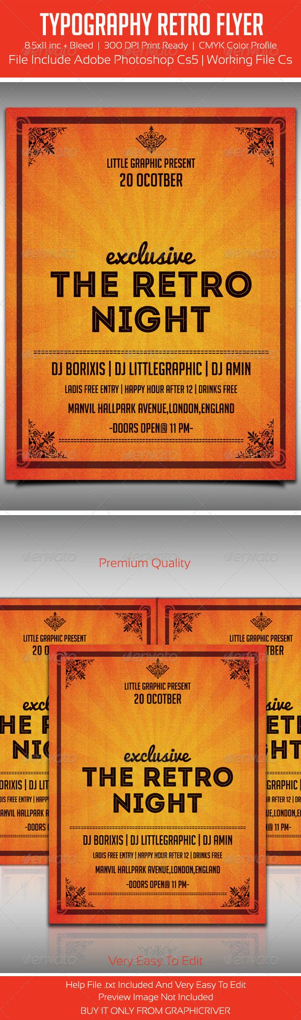 Typography Retro Party Flyer Template — Photoshop PSD #event #club party • A…