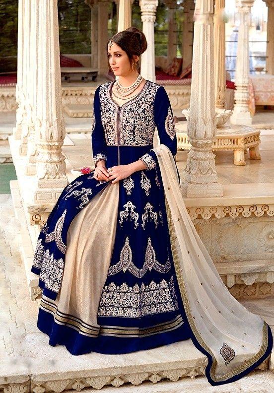 Royal Blue Floor Length Velvet Anarkali