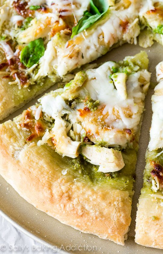 Roasted Garlic Chicken & Mozzarella Pizza with Homemade Basil Pesto | sallysbakingaddiction.com | #homemade #pizza #basil