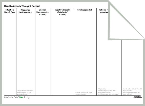 Cbt worksheets for health anxiety