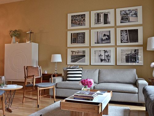black and white photography: Living Rooms Wall, Wall Art, Photo Collage, Ideas, Gray Couch, Paris Photography, Photo Wall, Pictures Frames, Brown Pens