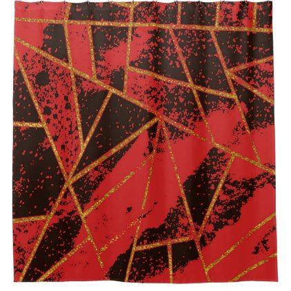 Abstract #942 Red Shower Curtain - shower curtains home decor custom idea personalize bathroom