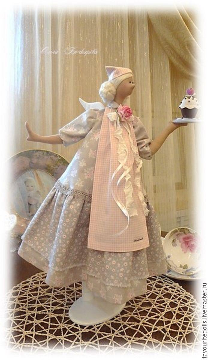 Купить Текстильная кукла. Домашняя фея. Хозяюшка Шарлотта (ещё одна) - бледно-розовый