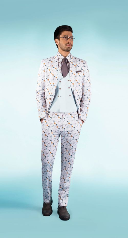 SS HOMME Glide printed 3 piece suit & pale blue waistcoat.  #summerresort #summercruise #printed #suit #sshomme