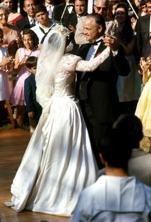 Don Vito Corleone (Marlon Brando), Connie Corleone Rizzi (Talia Shire) dancing at her wedding