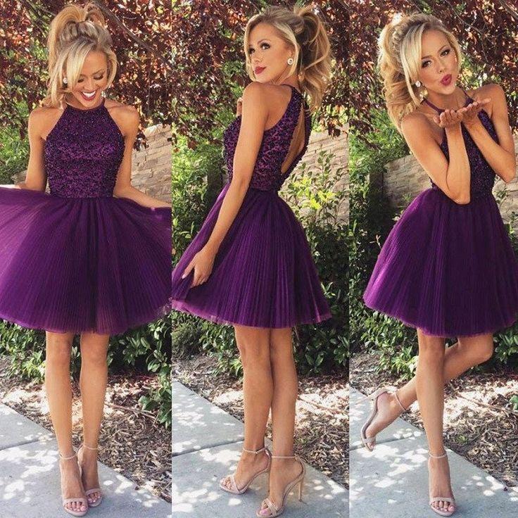 Halter High Neck Purple Homecoming Dresses,Beaded Bodice Tulle Skirt,Hot57