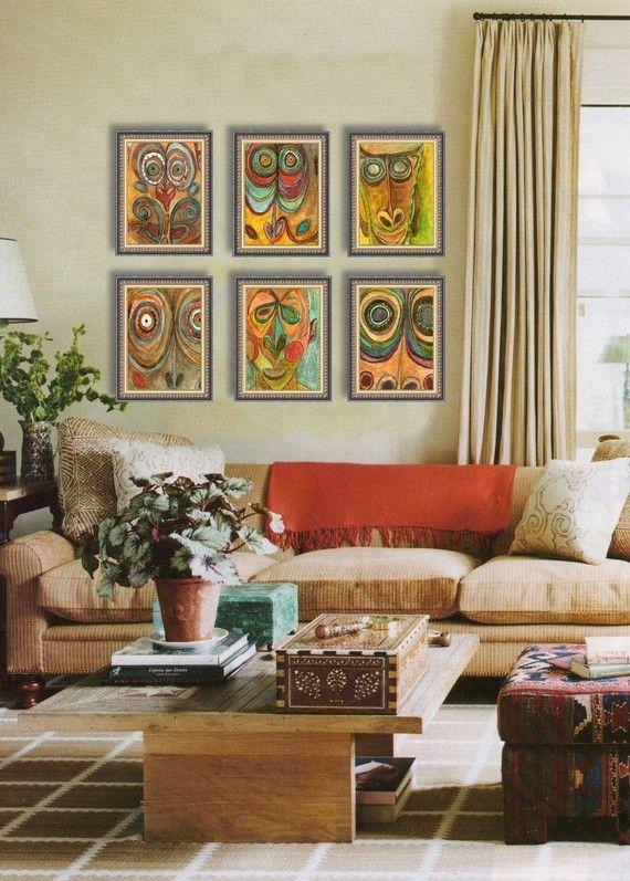 African Art, Fine Art PRINT Set of 6 Tribal Ethnic Global Decor Sophisticated Modern Home orange teal turquoise boho decor