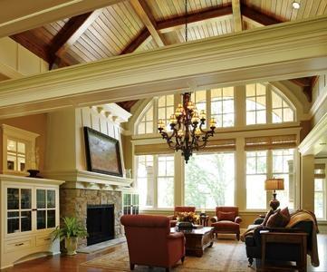 family room: Ceilings Beams, Window, Expo Beams, High Ceilings, Wood Ceilings, Traditional Living Rooms, Living Rooms Fireplaces, Vaulted Ceilings, Families Rooms