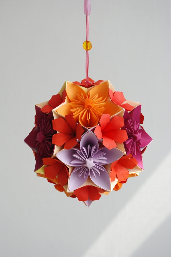 Origami paper ball  Autumn Flower kusudama by Waveoflight on Etsy