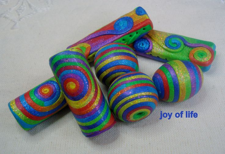 Multilisting! handmade polymer clay beads, artista, pomegranate, colibri, joy of life, sparkling black, art, jewelry, craft by 1000and1 on Etsy