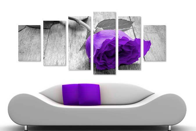 Trandafir mov BW 38470- Tablouri canvas 6 piese- etablou.ro
