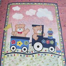Baby Blanket Quilt top fabric panel Tedy Bear CHOO choo train 33x44 red gingham