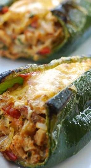 Stuffed Poblano Peppers. I used cream cheese instead of mozz cheese and chorizo sausage instead of chicken.