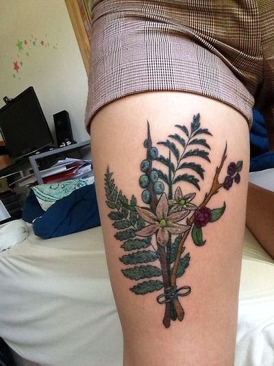 Bouquet of native Washington State flora, designed by owner, and redrawn/tattood by Mekaya Martinez at InkMonkey Tattoo, Venice Beach, CA.