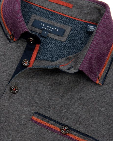 Stripe collar polo - Charcoal | Tops & T-shirts | Ted Baker UK