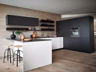 Lacquered Melamine Fitted Kitchen With Peninsula MAXIMA 2.2   COMPOSITION 6    Cesar Arredamenti