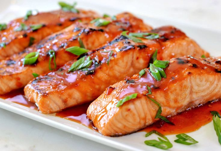 TESTED & PERFECTED RECIPE - Salmon fillets quickly marinated in Thai sweet chili sauce, soy sauce and ginger and then broiled until caramelized on top.