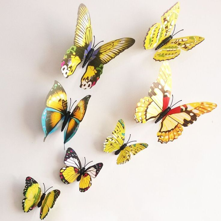 3D Yellow Butterfly Wall Stickers/ Wall Decors/ Wall Art /Decals for Girl QZ05