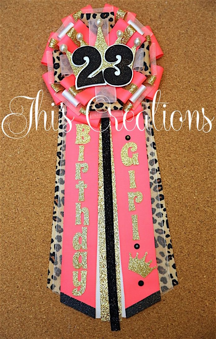 Tiffany's 23rd birthday pin/mum/corsage in neon pink, cheetah, white, black, and gold... #JhisCreations