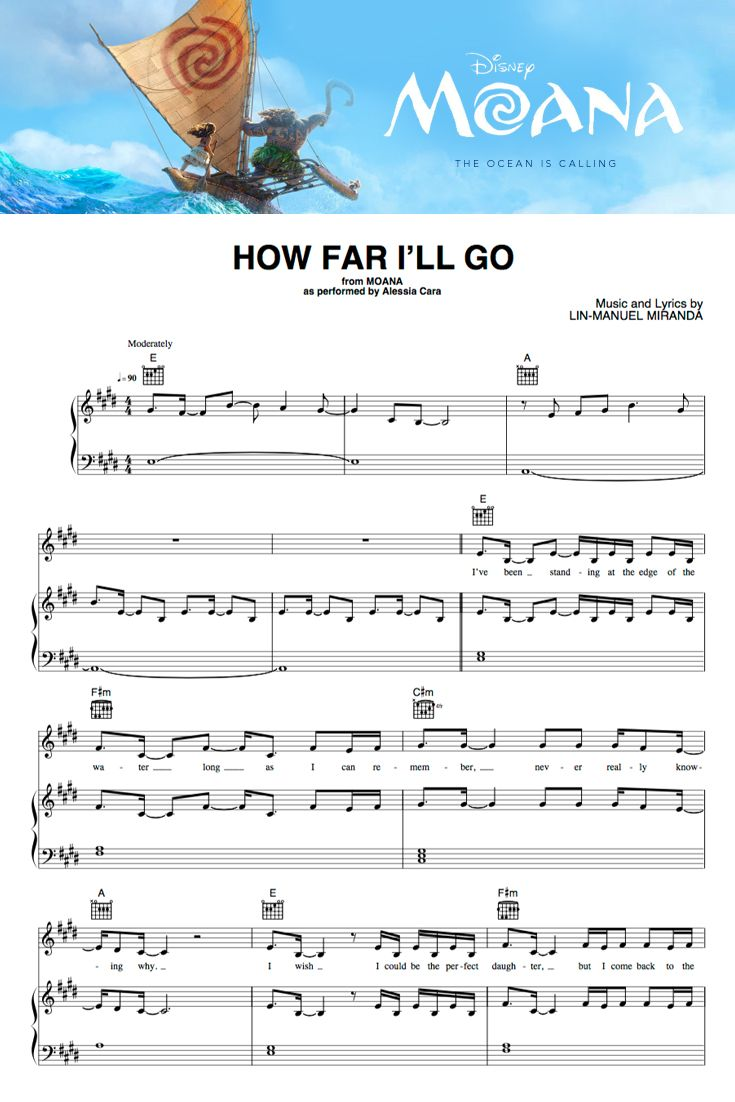 "Download new ""Moana"" sheet music titles written by Lin-Manuel Miranda."