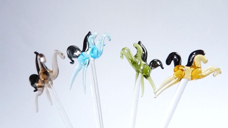 Glass Horses Cocktail Swizzle Sticks Drink Stirrers Set of 4 Barware Party Vintage by Oldiscoolshop on Etsy