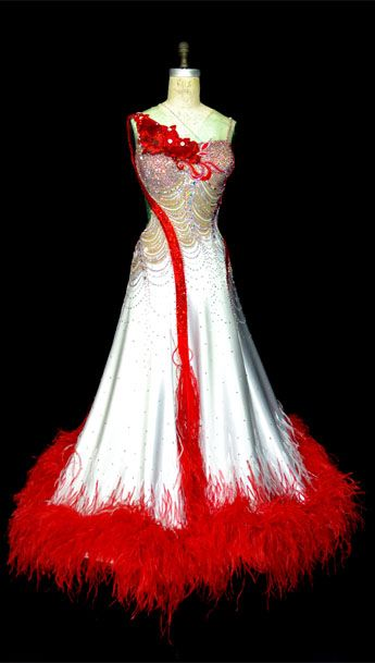 Standard dance gown with boa