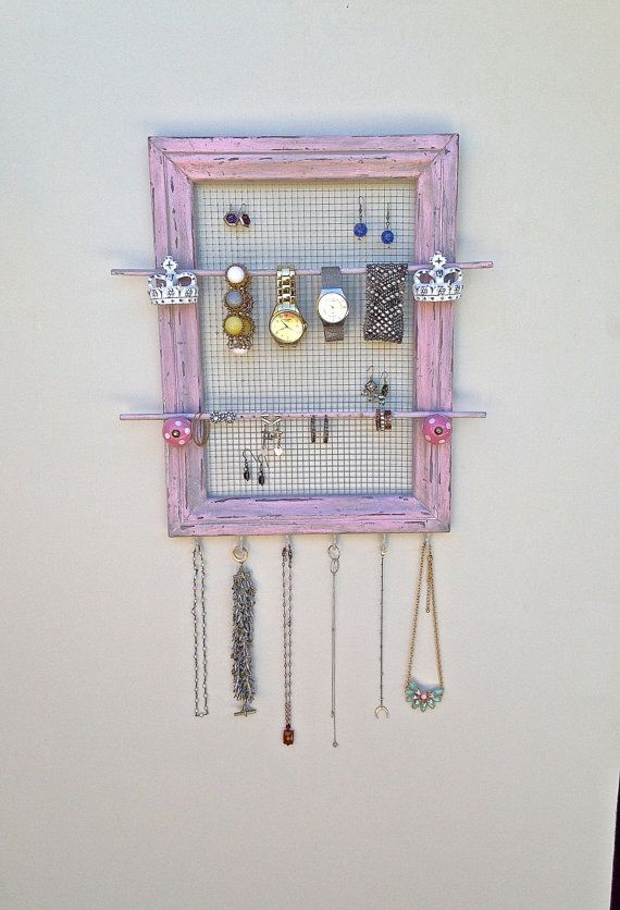 Shabby Chic Jewelry Holder-UpCycled Wood Frame-Paint Distress Pink Handmade Frame-Decorative Knobs ON SALE!