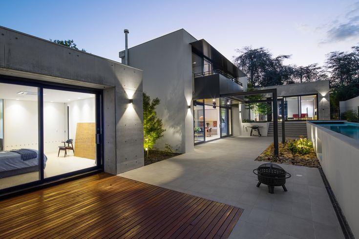 modern architecture, off-form concrete, corten steel