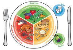 Représentation de la division d'une assiette selon les groupes alimentaires.