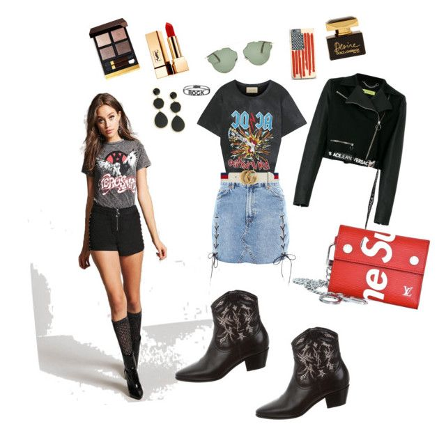 """""""Rock Yourself"""" by julianabos ❤ liked on Polyvore featuring Versace, Forever 21, Gucci, Supreme, Christian Dior, Topshop, Yves Saint Laurent, Tom Ford, Dolce&Gabbana and Ippolita"""