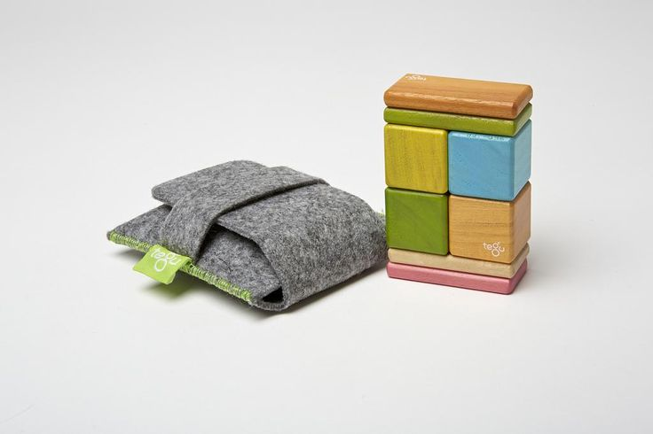 Tegu On the Go Original Pocket Pouch Set Tints - The Pocket Pouch is the perfect introduction to the world of Tegu magnetic wooden blocks. It's the perfect toy for the purse, restaurant, airplane, or desk.