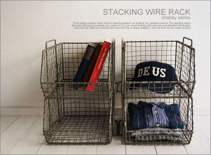 スタッキングワイヤーバスケット/アンティークフレンチパリ北欧シャビー雅姫レトロインダストリアル工業系truckfurniture