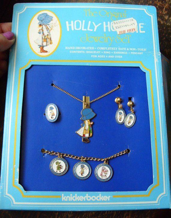 Holly Hobbie Vintage Necklace Earring Ring and Bracelet Set, $20