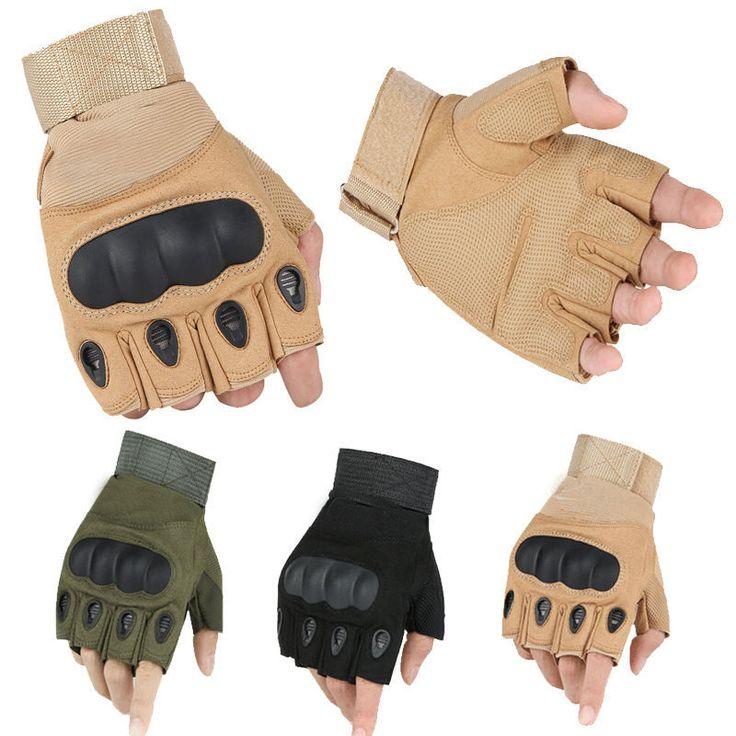 陸軍戦術手袋用メンズクライミング自転車滑り止めフィットネススポーツワークアウトジムトレーニング手袋屋外スポーツブラックフルハーフ