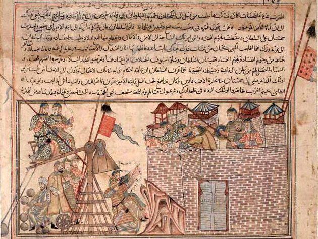 The Jami' al-Tawarikh by Rashid al-Din, Ilkhanid Persia, 1305-14. Mongols Besieging the City of Ūq.