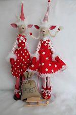 Puppe 2 Stck. Elch ca. 61 cm hoch, Sack Schlitten Tilda Stoff Stenzo Stoff...