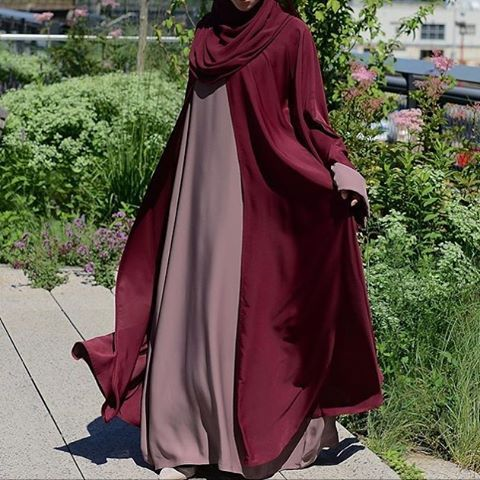 Check out the Bashirah Abaya on Maroon from @alshamsapparel Follow them to order and see more of their beautiful abayas