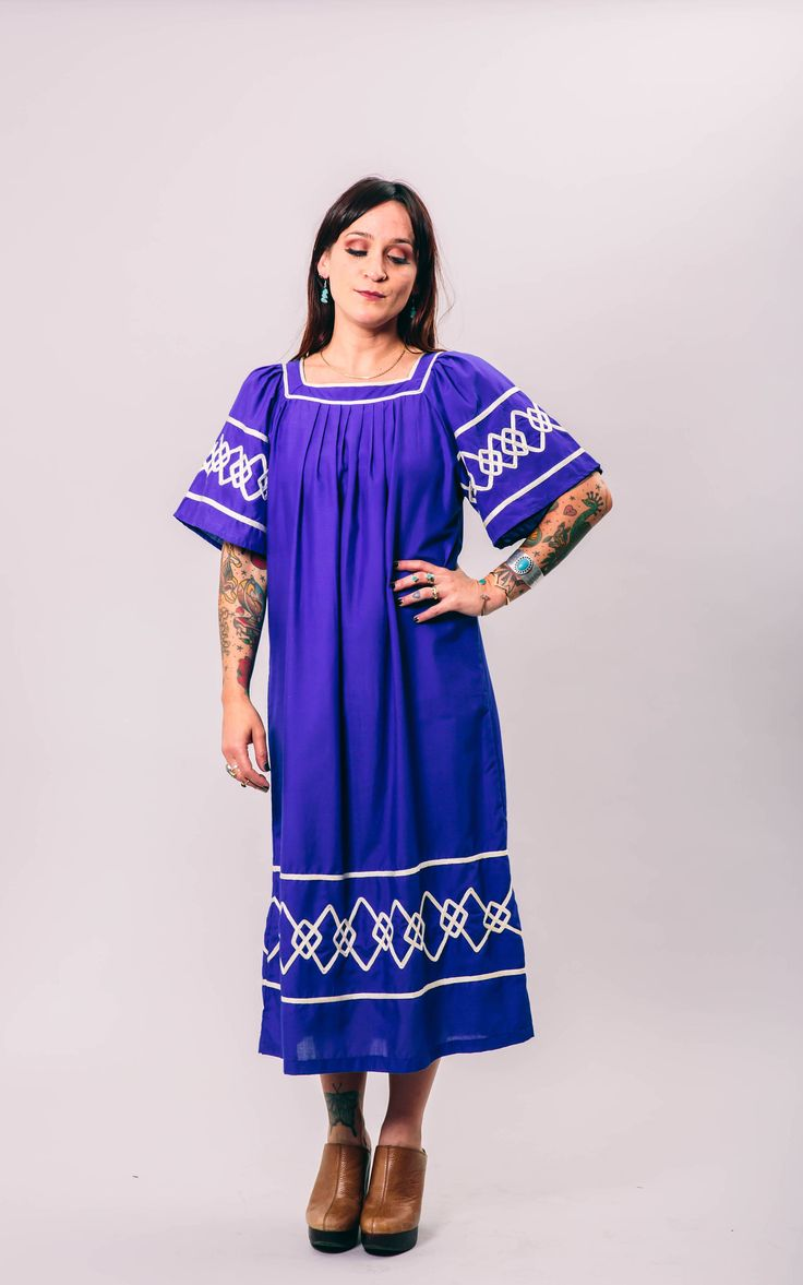vintage blue and white Moroccan kaftan dress   medium   the cobalt maxi by GoldstruckGoods on Etsy