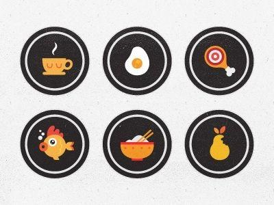 Flat Icons / Flat Design / Icons Design / Icons / Pictograms / Signs / Dribbble - Blindfood App Badges by Burcu Dayanıklı