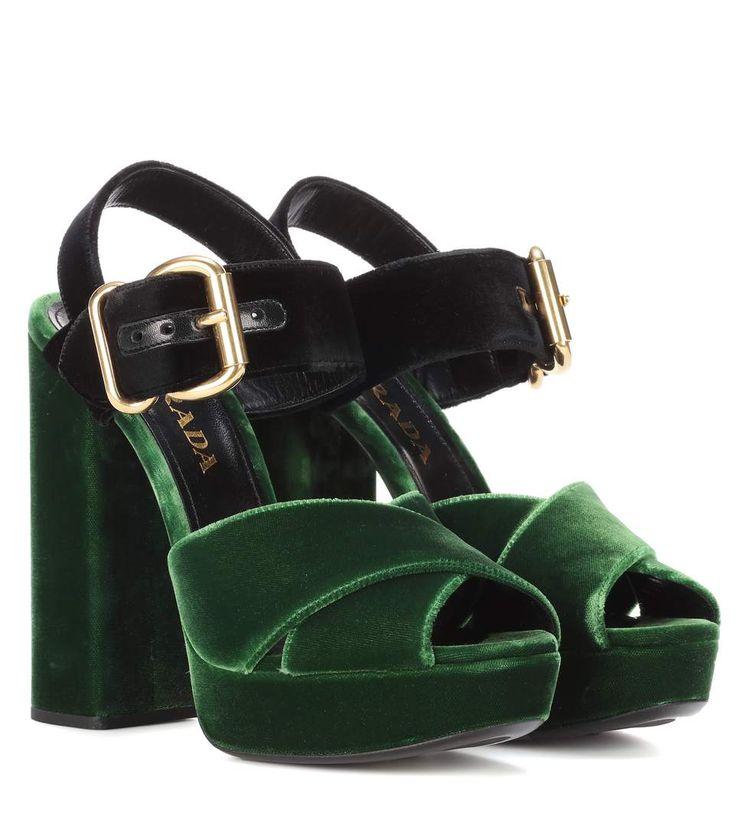 Green velvet platform sandals