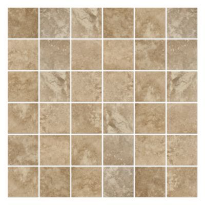 mosaic of matte porcelain in neutral tans and browns