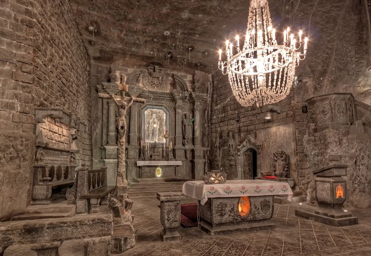 Church carved out of a Salt Mine: The Altar in the St. Kinga's Chapel in the Wieliczka Salt Mine in Poland (x-post from /r/MostBeautiful)