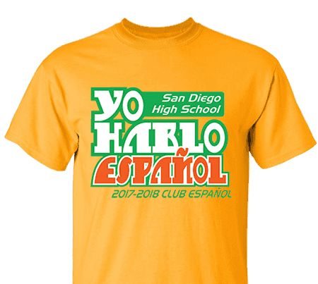 high school impressions custom spanish club tees create your own design for t shirts hoodies sweatshirts choose your text ink and garment colors - Designs For T Shirts Ideas