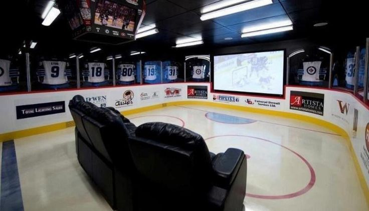 Hockey themed home theater unique living room ideas for Zamboni room design