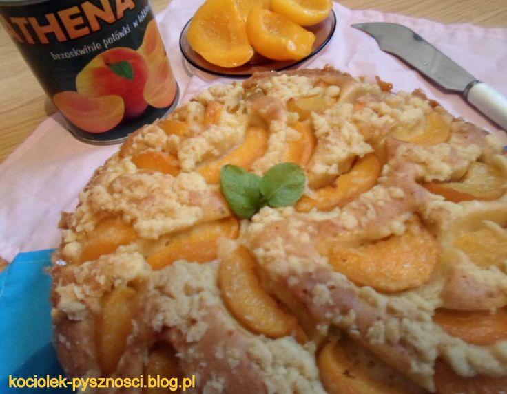 Ciasto z brzoskwiniami i kruszonką | kociołek-pyszności