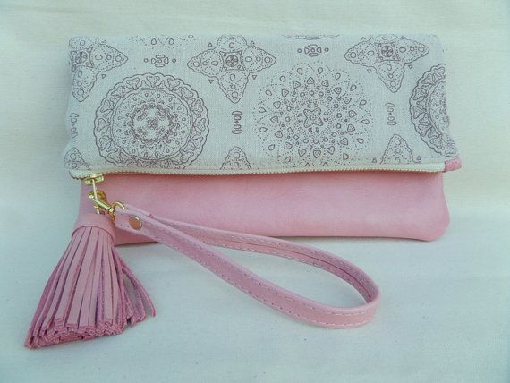 Hey, I found this really awesome Etsy listing at https://www.etsy.com/listing/217461758/foldover-pink-leatherlinen-clutch-bag
