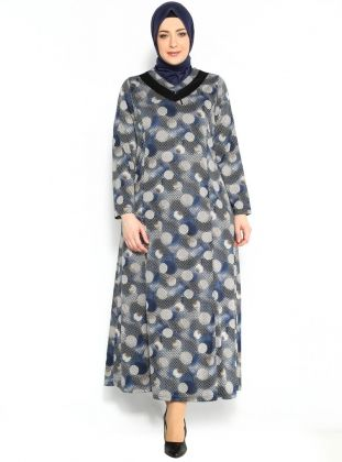 Puantiye Desenli Elbise - Siyah Mavi - Neslihan Triko :: Zinde Market