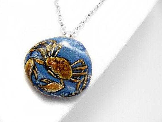 Krebs Sternzeichen Collier Crab Art Anhänger von rainbowofcrazy