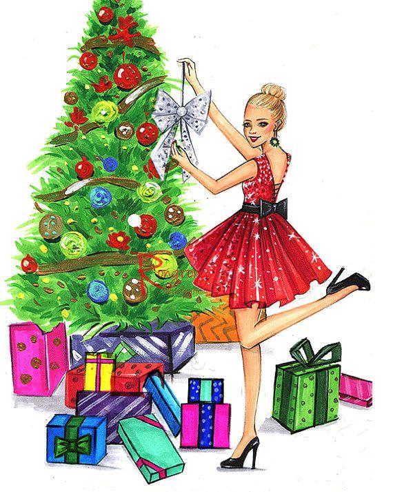 Arte de Navidad regalo de Navidad por RongrongIllustration en Etsy