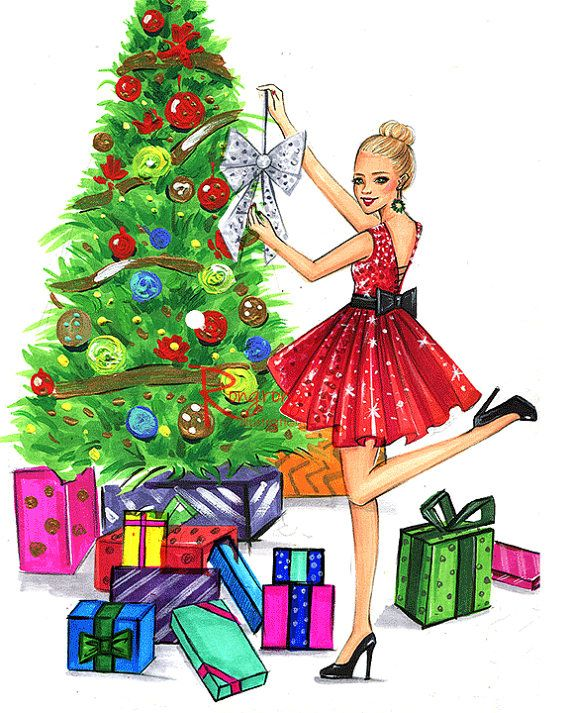 Christmas fashion illustration by  RongrongIllustration| www.rongrongillustration.etsy.com